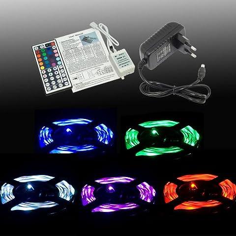 Ruban lumineux de 3m avec 30 LED 5050 SMD RVB par mètre + télécommande 44 touches + alimentation 12V LD152