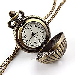 ShopyStore Pumpkin Ball Necklace Pendant Quartz Pocket Watch Mens Womens Lady Gift P67