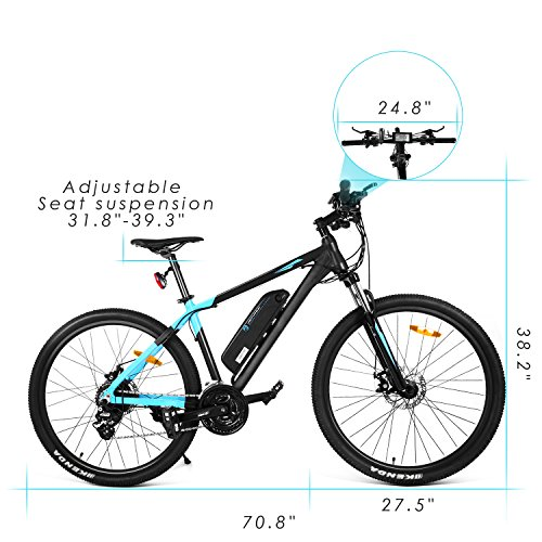 AIMADO 27.5 Zoll E-Mountainbike mit 36V 10.4Ah Entfernbare Lithium Akku, 250W Heckmotor E-Bike, 24 Gang Shimano Gangschaltung und LCD Display, Elektrofahrrad bis 25 km/h