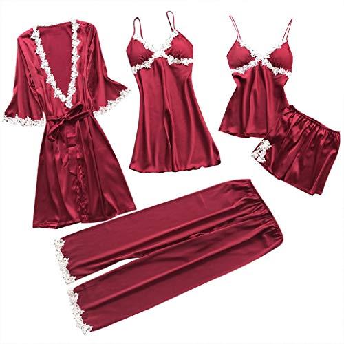 Proumy Conjunto Pijamas Mujer 5 Piezas Kimono Larga