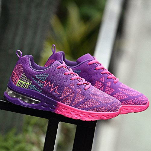 Mixte Adulte Chaussures de Course Mesh Respirante Fitness Running Baskets Pourpre