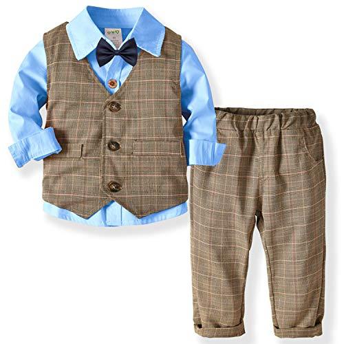 ZOEREA Baby Jungen Kleidung Set Shirt + Weste + Hose Baby Fliege Braun Anzug für Baby Geburtstagsparty Kleid