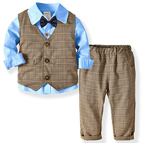 Zoerea Baby Jungen Kleidungsset Shirt + Weste + Hose Baby Fliege Braun Anzug für Baby Geburtstagsparty Kleid Blue,120 Baby Blue Weste