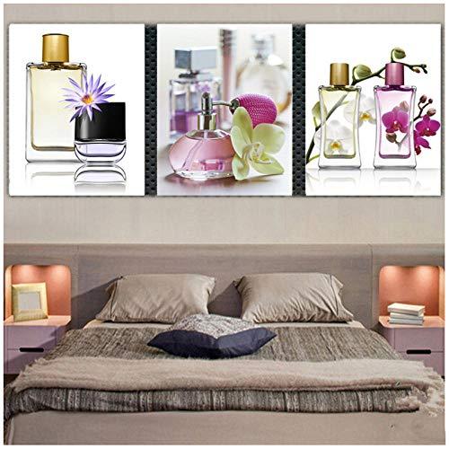 dayanzai 3 Stück Leinwand Malerei Parfüm Blumen Für Schlafzimmer Wohnkultur Wandbilder Pop Leinwand Malerei Kunst 50X60 cm X 3 Stücke Kein Rahmen - Eindruck Gerahmt