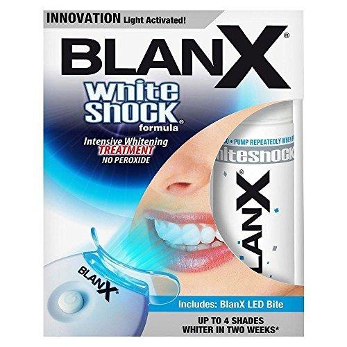 BlanX White Shock Whitening Intensiv-Kur + LED Lichtschiene für weißere Zähne mit LED Behandlung, 30ml (Advanced White Zahnpasta)