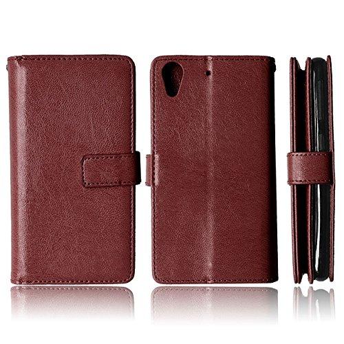 HTC 626 Case Solid Color-Qualität PU-Leder-Kasten-Abdeckungs-Standplatz-Mappen-Kasten für HTC 626 ( Color : Rose , Size : HTC 626 ) Brown