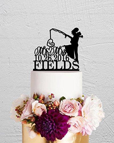 qidushop Angeln Initialen Herr und Frau Haken auf Love letzten Namen Custom Tortenaufsatz für Hochzeit Jahrestag Tortenaufsatz Funny Hochzeit Geschenk für das Paar