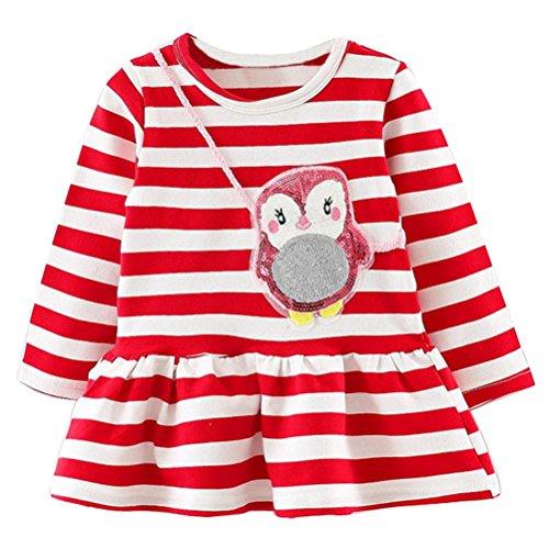 (JERFER Mädchen Crewneck Langarm Casual Karikatur Stickerei Party T-Shirt Kleid Kinderkleider Festliche 2-8 T/Jahre (L, 12M))