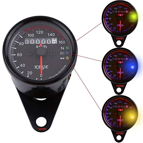 VGEBY Odómetro de La Motocicleta Digital Velocímetro Tacómetro con LED Luz de...