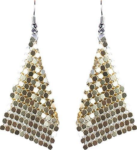 Onlyglobal Damen 1970er Jahre Disco Party Kostüm Zubehör Kostüm Schmuck Diamant-Ohrringe - Gold, One size