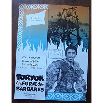 Dossier de presse de Toryok la furie des Barbares (1960) – 31x48cm - Film de Guido Malatesta avec E Purdom, R Podesta, L Lorenzon – Photos N&B + résumé scénario – Bon état.