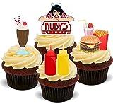 Amerikanische Diner Mix - 12 essbare Standup Kuchen-Deko, Kuchendekorationen, essbar, Premium, 2 x A5, für 12 Bilder, nicht vorgeschnitten