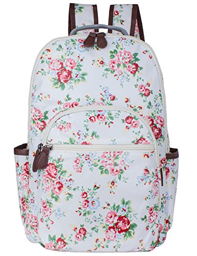 Leaper wasserdichte Leinwand + PVC Schicht Schule Rucksack hübsch floral Laptop Tasche lässig Daypack (Weiss) (100% Pvc-computer-tasche)