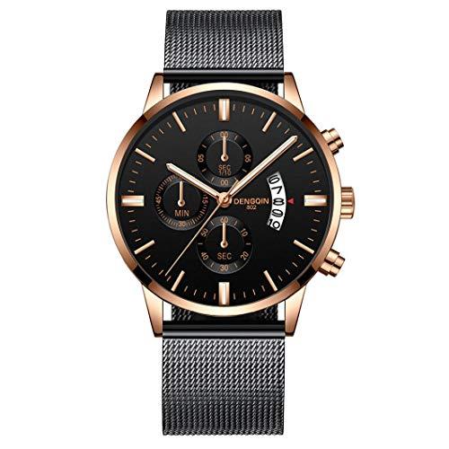 IK Herren-/Damen-Uhr Ø 40mm mit Milanaise-Armband Chenang Herren-/Damen-Armbanduhr mit Kalender Datumanzeige Multi-funktion Watch 805 Mesh mit einzelnen Kalender