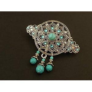 Große Ornament Edelstein Haarspange mit Türkis Perlen