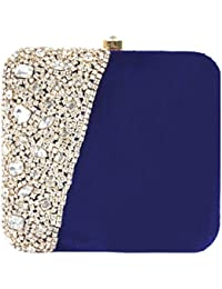 Tooba Women's Embroidered Velvet Bridal Clutch Bag for Party and Wedding(blue booty potly)