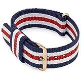 MOMENTO 18mm Bracelet de Montre NATO Nylon Homme et Femme - Acier Boucle - Rayé Elastique Textile Tissue - Vegan - Or | Bleu Blanc Rouge
