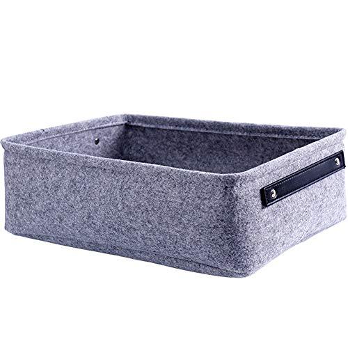 Hippicity Dekorativer Korb, rechteckig, Filzstoff, Aufbewahrungskorb mit Griff für Kleidung, Handtuch, Schlüssel, Make-up-Aufbewahrung, grau, M