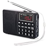 Radio PRUNUS Portable SW/FM/AM(MW)/ SD/TF/USB(0-64 GB) MP3. Large Bouton et Affichage. Enregistre Les Stations manuellement ou en Automatique. (sans la Fonction de mémorisation Manuelle)
