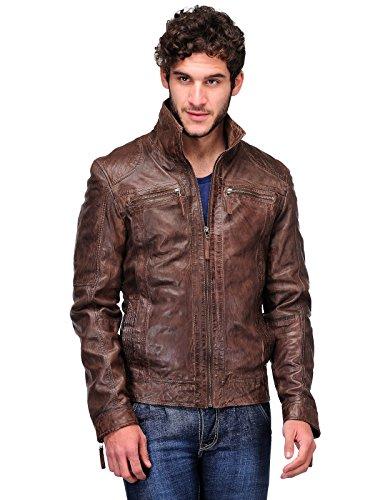 Teakwood Men's Leather Slim Fit Jacket Brown XX-Large