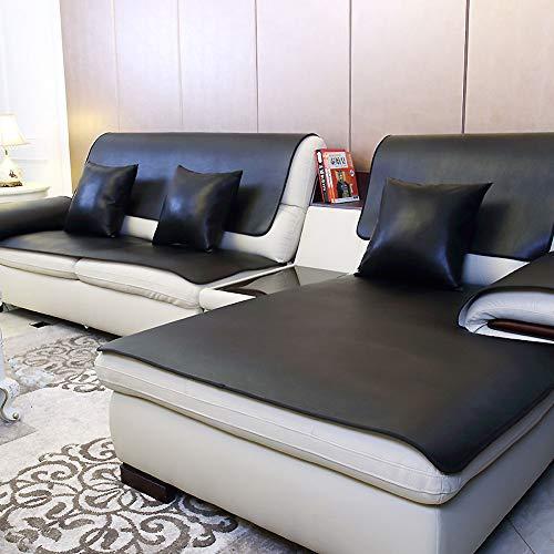 Schwarze Leder Schnitt Couch (Wasserdicht Sofa Deckt Schnitt, Anti-rutsch Leder Sofakissen Haustier Abdeckung Für Couch Möbel-Protector Für 1 2 3 4 Kissen Sofa-schwarz Kissenbezug: 18 '' X 18 '')
