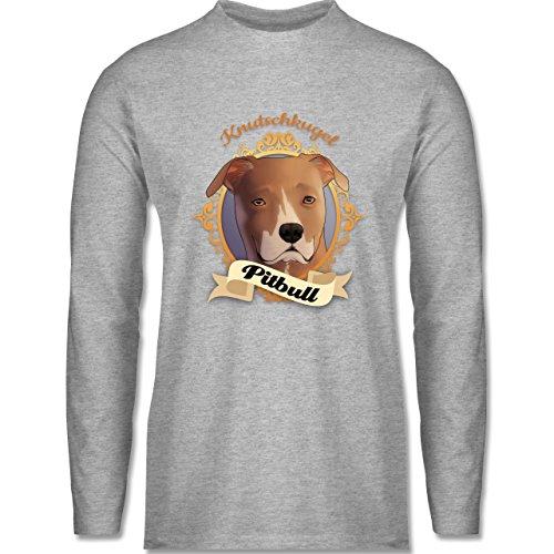 Shirtracer Hunde - Pitbull - Knutschkugel - Herren Langarmshirt Grau Meliert