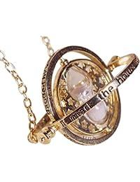 """Collier et pendentif en métal. Série HARRY POTTER. Modèle """"Hermione - Retourneur de temps (Time-Turner)"""". Couleur Or."""