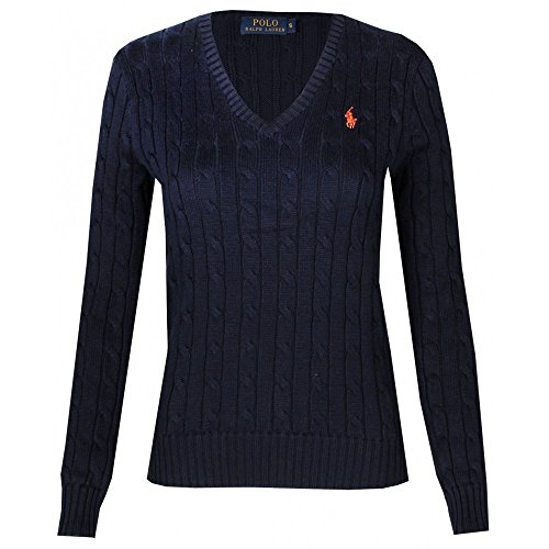 Polo Ralph Lauren Cable Knit V-Neck Cotton Pullover Kimberly Navy (S) (Knit Lauren Cable Sweater Ralph)
