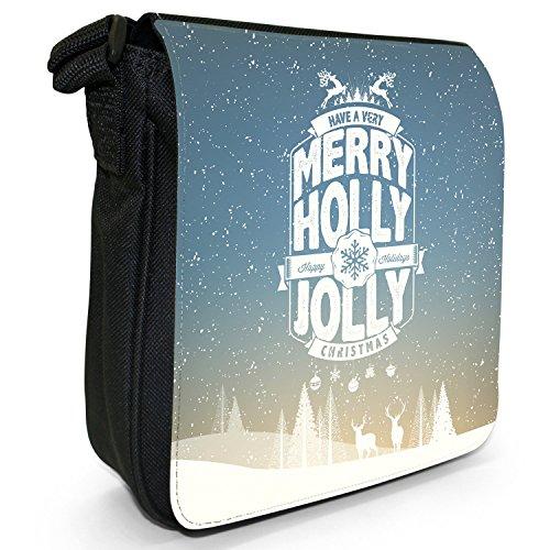Neve Tipografia auguri di Natale piccolo nero Tela Borsa a tracolla, taglia S Happy Jolly Holly Christmas
