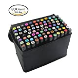 80 Colors Art Sketch Twin Graphic Marker Pen Render Manga and Design with Black Bag