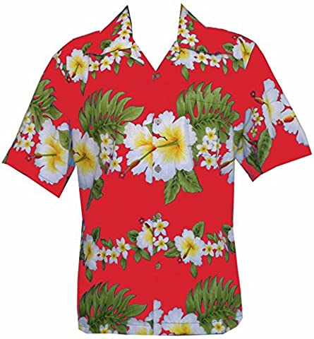 Hawaiian Shirt 10A Mens Cross Hibiscus Flower Print Beach Party
