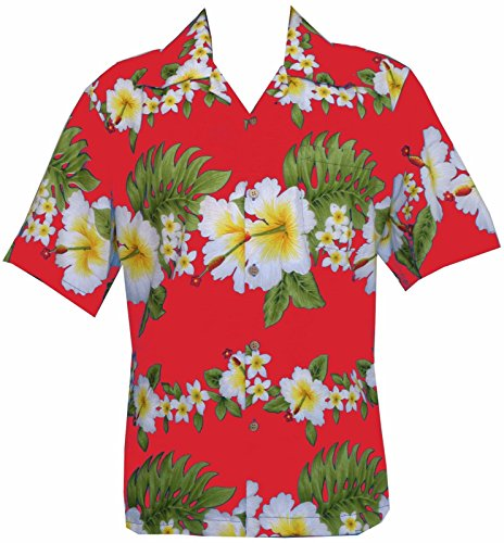 Alvish Herren Button-down Freizeit-Hemd Gr. Small, rot (Bahama Shirt Hawaiian)