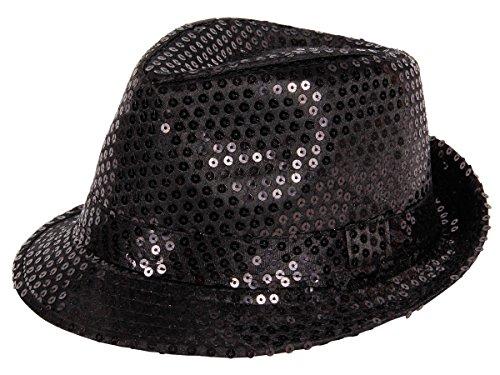Alsino Pailetten Hut schwarz - für Karneval und Fasching - Partyhut Trilby Paillettenhut Blink Discohut Pailletten Glitzerhut Glitter TH-56