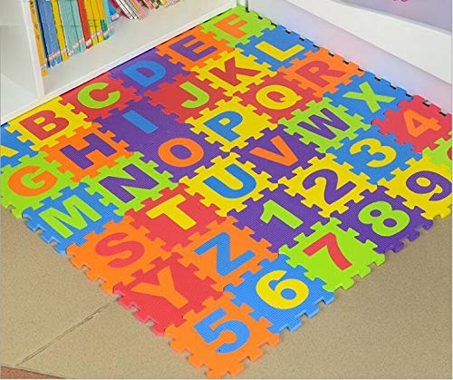 Jaccer Puzzlematten 36 Buchstaben Puzzle Teppichmatten Kinder Game-Pad Schaumstoffkissen Rutsch Teppich Lernen Gesicht zu Spielen ABC Puzzlematte für Kinder (Stil6) (Lernen Teppiche Für Kinder)