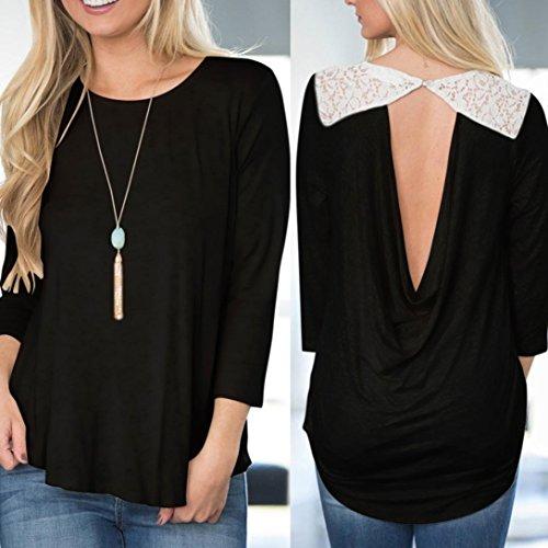Tonsee Femmes Chemise à manches longues en dentelle patchwork t-shirt Noir