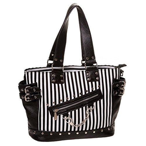 Banned Punk Damen Handtasche - Schultertasche Handschellen, Schnallen und Nieten Schwarz Weiß gestreift (Schwarze Schnalle Canvas)