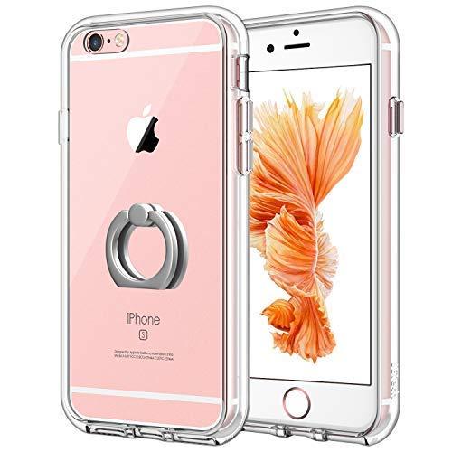 JETech Hülle für Apple iPhone 6s Plus iPhone 6 Plus, Schutzhülle mit Anti-kratzt Transparente und Rückseite, Rotierendem Ring Fingerhalterung Ständer, HD Klar