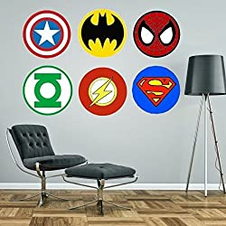 Superheroes logos Marvel Superman Spiderman Batman Capitán América verde linterna Flash gigante pegatinas de pared Kit adhesivo, Large - each logo 60cm wide