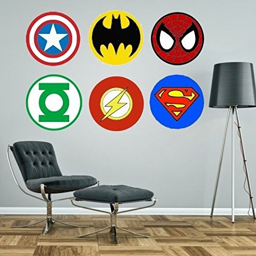 Superhelden-Logos Marvel Superman Spiderman Batman Captain America Green Lantern Flash riesiges Wandaufkleber-Set Aufkleber, grün, Medium - each logo 40cm wide