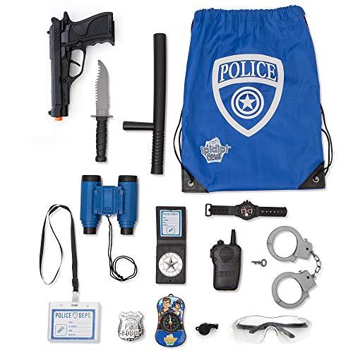 Polizei Rollenspiel-Set 15-teilig Polizei Spielzeug-Set | Gun Badge Handschellen Fernglas | Polizist Zubehör | Detektivausrüstung für Verkleidung & Kinderkostüme | Offizierstasche inklusive