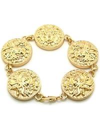 Bracelet de ton or à cinq médailles Medusa à tête de serpents, chaîne à maillons L.22,9 cm