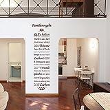 Wandtattoo Familienregeln Wandspruch Regeln Wandekoration Familie Freunde Träume Lachen Glauben Versprechen Lieben Spruch ca. 52 x 180 cm braun