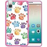 Funda Huawei Honor 7i, WoowCase [ Huawei Honor 7i ] Funda Silicona Gel Flexible Huellas Perro, Carcasa Case TPU Silicona - Rosa
