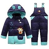 OMSLIFE Baby Set Daunenjacke mit Kaputze Bekleidungsset Baby Kinder Junge Mädchen Verdickte Winterjacke + Winterhose Aufdruck Daunenhose Jacket (Höhe 92cm-100cm (Etikett 100), dunkelblau)