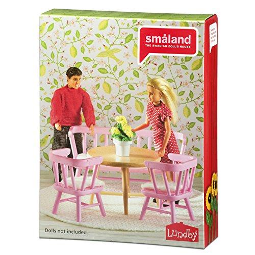 Lundby 60.2079.00 - Tavolino e sedie per la cucina, per casa delle bambole