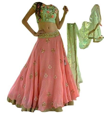 Brahmani Enterprise designer pink and parrot indian bridal heavy lehenga