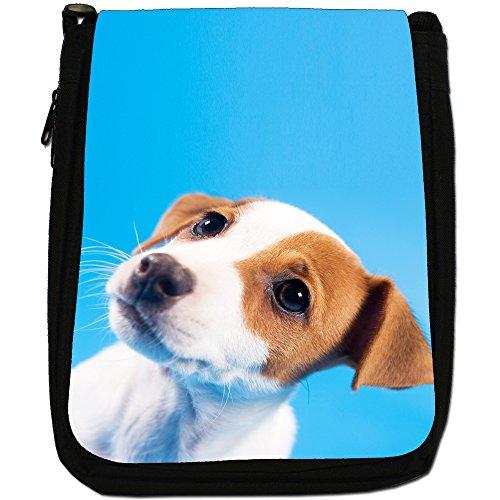 Jack Russell Terrier-Borsa a tracolla in tela, colore: nero, taglia: M Nero (Jack Russell Puppy)