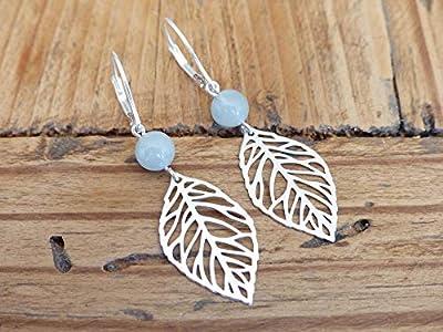 Boucles d'oreilles aigue-marine argent 925 - Boucles oreilles pendantes feuilles - Attache crochet ou dormeuse - Perle pierre naissance Mars