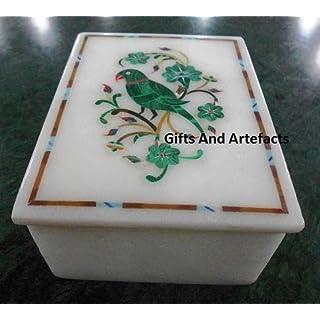 Gifts And Artefacts Schmuckkästchen mit Malachit-Steineineinlage, 12,7 x 8,9 x 5,1 cm, Weiß
