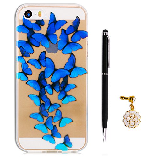 Coque iPhone SE, Coque iPhone 5S, SpiritSun Housse Etui TPU Silicone Clair Transparente Ultra Mince Souple Douce Coque pour Apple iPhone SE / 5 / 5S + Stylet et Bouchon Anti-Poussière - Donuts Papillon Bleu